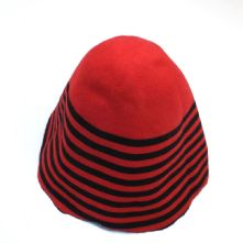 Black and Red Striped Wool Felt Milliners Hat Cone or Hood